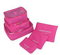 Swarim Multi-Purpose Waterproof Travel Pouch Cosmetics Make-up Bags Organizer(Dark Pink)