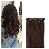 16 Clip in Hair Extensions Remy Human Hair for Women - Silky Straight Human Hair Clip in Extensions 55grams 4pieces Dark Brown #2 Color