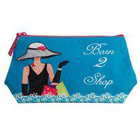 Pinaken Women and Girls All Purpose Cosmetic Pouch (Born To Shop, Canvas)