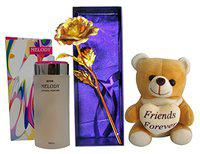 Saugat Traders Combo of Artificial Golden Rose, Soft Toy & Branded Perfume