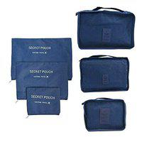 ShopAIS 6 in 1 Travel Clothes Bag Cosmetic Laundry Make-Up Storage Pouch Organizer - Navy Blue