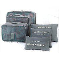 ShopAIS 6 IN 1 Travel Clothes Bag Cosmetic Laundry Make-Up Storage Pouch Organizer - Grey