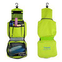 ShopAIS Travel Your Life! Womens Ladies Toiletry Storage Bag Hanging Folding Cosmetic Organizer Large Capability Pouch - Green