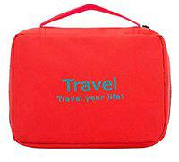 ShopAIS Travel Your Life! Womens Ladies Toiletry Storage Bag Hanging Folding Cosmetic Organizer Large Capability Pouch- Red