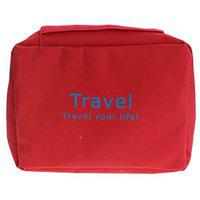 Lemish Travel Toiletry Zipper Cosmetic Makeup Pouch Storage Hanging Bag - Red