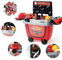Toys Bhoomi 2 in 1 Pushcart Construction Tools Workbench Toy Set with Storage Roller Case - 28 Piece
