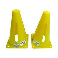 KITSAWS Sports Marker Cones 9 Inch Wind Slit (Set of 2) for Agility Training, Football, Cricket, Track and Fields
