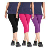 Pixie Super Soft Bio-washed 220 Gsm Capri For Women, 4 Way Stretchable, Combo Pack Of 5 (black, White, Pink, Dark Brown And Turquoise) - Free