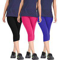Pixie Capri Leggings | 3/4th | Pants | Combo Pack of 3 for Women/Girls/Ladies (Black, Pink and Blue) - Free Size