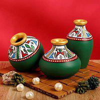 Craftbell Terracotta Table Pots Warli Handpainted Miniature Green Handpainted - Flower Vase, Table Vase, Decorative Vase, Decorative Items, Decoration Items, Home Office Décor, Show Pieces, Home Decorative Items, Table Decor, For Gift Item / Christmas Gift / New Year Gift