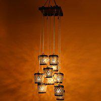 ExclusiveLane Barrel Shaped Home Decorative Chandelier Light Cum Hanging Ceiling Lamp with 10 Shades (Brown and Golden)