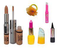 ADS Foundation & Concealer (2 in 1), Lipstick, Kajal, pink Lips and Band