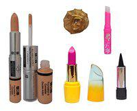 ADS Foundation & Concealer (2 in 1), Lipstick, Kajal, pink Lips and Golden Band