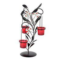 JEWEL FUEL Iron and Glass Tealight Candle Holder Showpiece