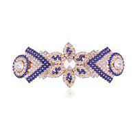 Accessher Designer Blue and White Studed Back Hair Center Clip with Rhinestone for Womens and Girls