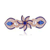 Accessher Trendy Blue and White Studed Floral Back Hair Center Clip with Rhinestone for Womens and Girls