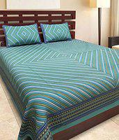 UniqChoice Rajasthani Traditional Print 120 TC 100% Cotton Double Bedsheet with 2 Pillow Cover,Purpal(UCBDKG205)