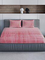 Spaces Occasions 300 TC Cotton Bedsheet with 2 Pillow Covers - Pink
