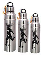 Taluka Set Of 3 Stainless Steel Insulated Hot & Cold Water Bottles Sports Bottle Sipper Drinkware (500 ml, 750 ml, 1000 ml)