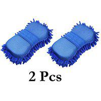 Automaze Wash and Dry 2-in-1 Multipurpose Microfibre High Performance Cleaning Sponge for Home Kitchen Vehicle Washing-Set of 2