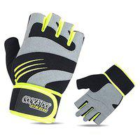Cockatoo CK114 Professional Comfort Gel Gym Gloves with Wrist Support; Weight Lifting Gloves (M)