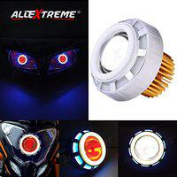 Allextreme Projector Lamp High Intensity LED Headlight Lens Projector with High Beam, Low Beam & Flasher Function (Red and Blue)
