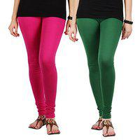 Pixie Women's/Girls Cotton Lycra 160 GSM 4 Way Stretchable Churidar Leggings Combo Pink and Dark Green (Pack of 2) - Free Size