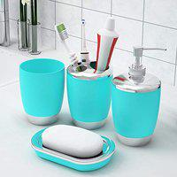 Story@Home Bathroom Accessories Set (4 Piece) with Toothbrush Holder, Liquid Bottle Dispenser, Soap Dish and Tumbler (Plastic), Light Blue