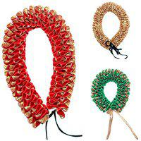 Daedal crafters Artificial Gajra (Gold, Red, Green, 3 Pieces)