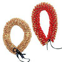 Daedal crafters Artificial Gajra (Red And Gold, 2 Pieces)