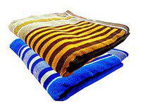 K.S. Collection Fine Soft & Cotton Attractiv Striped, Big Size 2 Bath Towels (58X28 Inch_Pink & Brown)