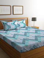 Elle Dcor Perspective 152 TC Cotton Bedsheet with 2 Pillow Covers - Geometric, King Size, Illuxe Blue