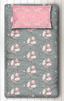 Silverlinen Counting Sheep 100% Cotton 250 TC Single Bedsheet for Kids Room for Girls with One Pillow Cover - Pink
