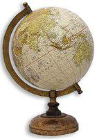globeskart educational globe with brass antique arc and wooden base for decor (8-inch)- Multi color