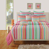 Swayam 180 TC Stripes Print Cotton Single Bed Sheet with 1 Pillow Cover - Pink, Grey-(1636-SBS)