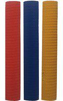 HRS Cricket Bat Grip, Pyramid - Pack of 3 (Red/Navy/Yellow)