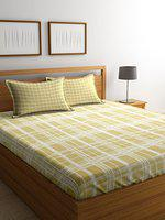 Elle Dcor Romantic Modernity 180 TC Cotton Double Bedsheet with 2 Pillow Covers - Checkered, King Size, Tick-Tack Coral