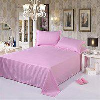 Satin Cotton Double Bed Plain Self-Striped Bedsheet with 2 Pillow Covers by Dazling Bazaar,Pink(King Size)