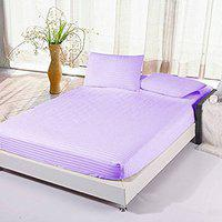 Satin Cotton Double Bed Plain Self-Striped Elastic FittedBedsheet with 2 Pillow Covers by Dazling Bazaar@,Light Purple(King Size)