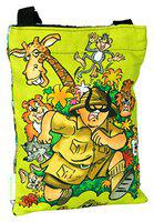 Eco Corner - Shambu With Wild Animals - Sling Bag - Small - Official Amar Chitra Katha - Tinkle Merchandise - 100% Cotton/Adjustable Strap/Printed On Both Sides/Zip Closure