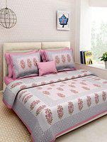Suraaj Fashion Rajasthani Traditional Hand Block Printed 144 TC Cotton Double Bedsheet with 2 Pillow Covers - Pink