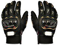 CP Bigbasket Probiker Leather Motorcycle Bike Gloves (Free Size) (Black)