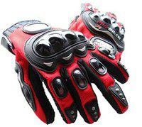 CP Bigbasket Probiker Leather Motorcycle Bike Gloves (Free Size) (Red)