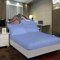 AVI 100% Cotton 300 Tc Single Fitted Bedsheet 36x78 Pattern-Stripe with 1 Pillow Covers (Sky Blue)