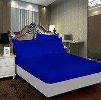 AVI Pure 100% Cotton 300 Tc Double Bed Fitted Bedsheet 72x72 Pattern-Stripe with 2 Pillow Covers (Navy Blue)