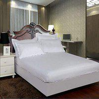AVI Pure 100% Cotton 300 Tc Callifornia King Size Fitted Bedsheet 72x84 Pattern-Stripe with 2 Pillow Covers (White)