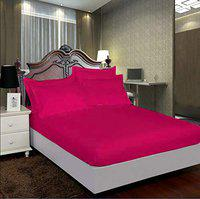 AVI Pure 100% Cotton 300 Tc Single Fitted Bedsheet 36x78 Pattern-Stripe with 1 Pillow Covers (Pink)