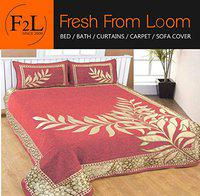 Bedsheet Cum Bed Spread for Double Bed 500 TC Chenille Bed Sheet with 2 Pillow Cover, Pink Color by Fresh From Loom