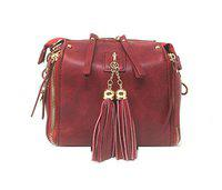 Di Grazia Women's Fringe Tassel Box Shoulder Sling Handbag (Wine Red, Red-Tassel-Box-Slingbag)