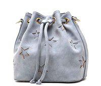 Di Grazia Women's Designer Bucket Shoulder Sling Handbag (Grey, Grey-Star-Bucket-Handbag)